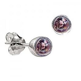 Sterling Silver Bezel Set Alexandrite CZ Earrings ( June Birthstone ) - Kiboo.com.au