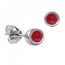 Sterling Silver Bezel Set Ruby CZ Earrings ( July Birthstone ) - Kiboo.com.au