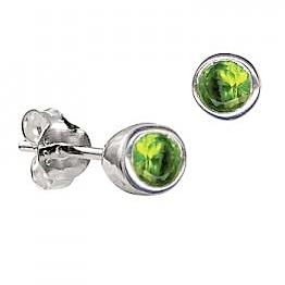 Sterling Silver Bezel Set Peridot CZ Earrings ( August Birthstone ) - Kiboo.com.au