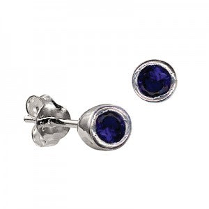 Sterling Silver Bezel Set Sapphire CZ Earrings ( September Birthstone ) - Kiboo.com.au