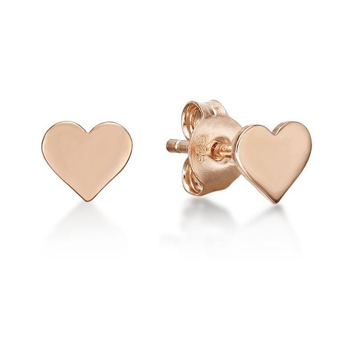 Rose Heart Disc Stud Earrings