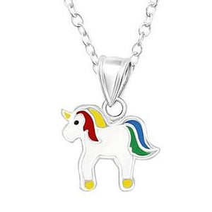 Sterling Silver Rainbow Unicorn Pendant with Sterling Silver Chain - Kiboo.com.au