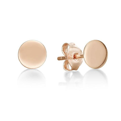 Rose Flat Round Disc Stud Earring