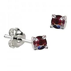 Sterling Silver Claw Set Garnet CZ Earrings ( January Birthstone ) - Kiboo.com.au