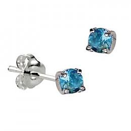 Sterling Silver Claw Set Blue Zircon CZ Earrings ( December Birthstone ) - Kiboo.com.au