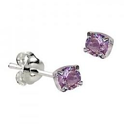 Sterling Silver Claw Set Amethyst CZ Earrings ( February Birthstone ) - Kiboo.com.au