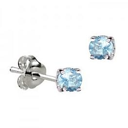 Sterling Silver Claw Set Aquamarine CZ Earrings ( March Birthstone ) - Kiboo.com.au