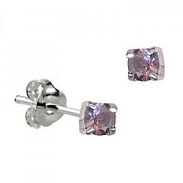 Sterling Silver Claw Set Alexandrite CZ Earrings ( June Birthstone ) - Kiboo.com.au