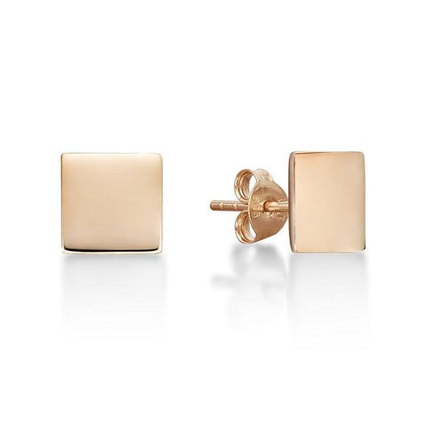 Rose Square Disc Stud Earrings