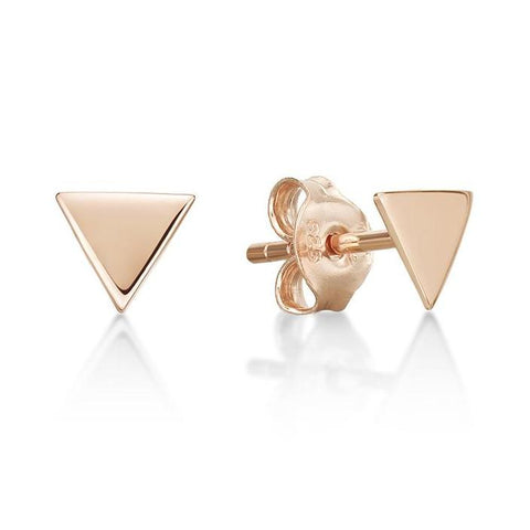 Rose Triangular Disc Stud Earring