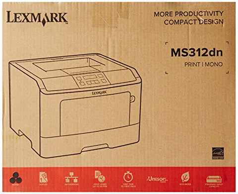 Lexmark MS312dn Compact Laser Printer, Monochrome, Networking, Duplex Printing