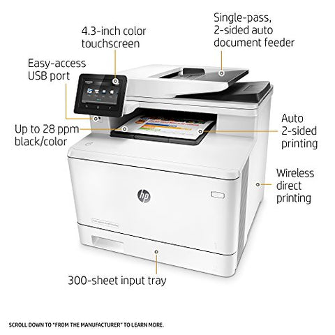 HP Laserjet Pro M477fdw Multifunction Wireless Color Laser Printer with Duplex Printing, Amazon Dash Replenishment Ready (CF379A)
