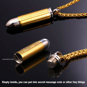 Faith Based Stainless Steel Bullet Men Necklace with Engraved Cross