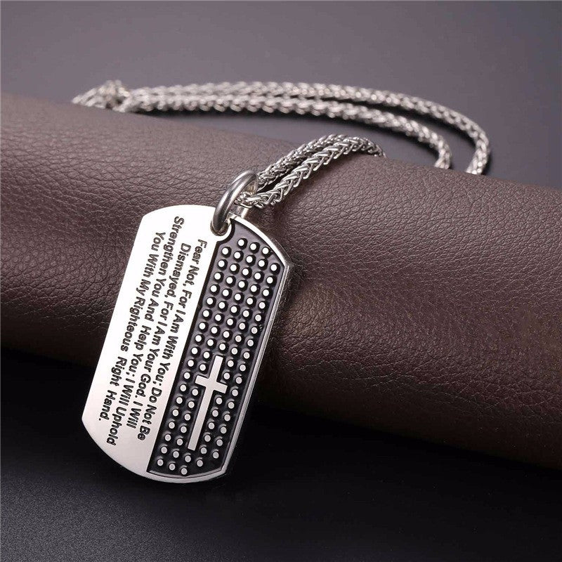 Dog Tag Cross Necklace  For Men