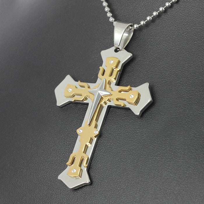 Gold Cross Christian Pendant Necklace