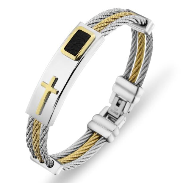 Gold Jesus Cross Bracelet Men Jewelry Stainless Steel