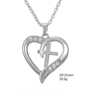Silver Plated Christian Cross Heart For Women