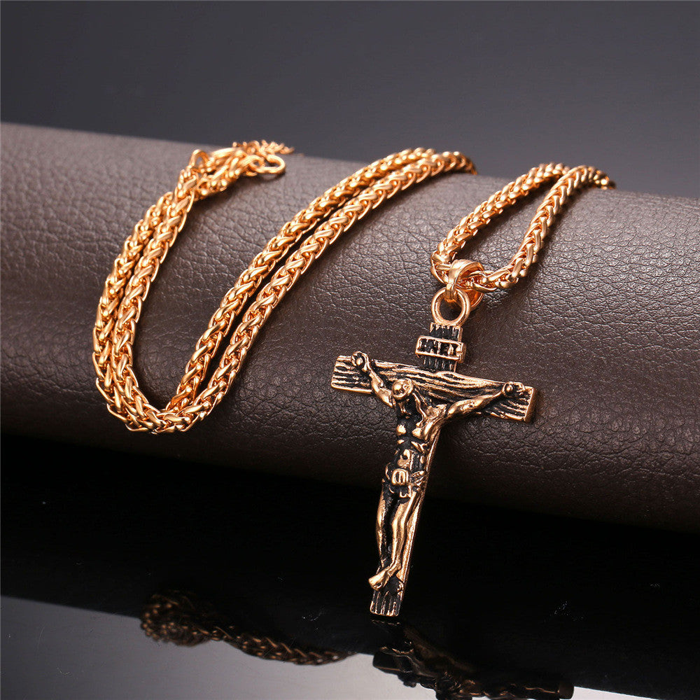 Stainless Steel Necklace Chain With Cross For Men