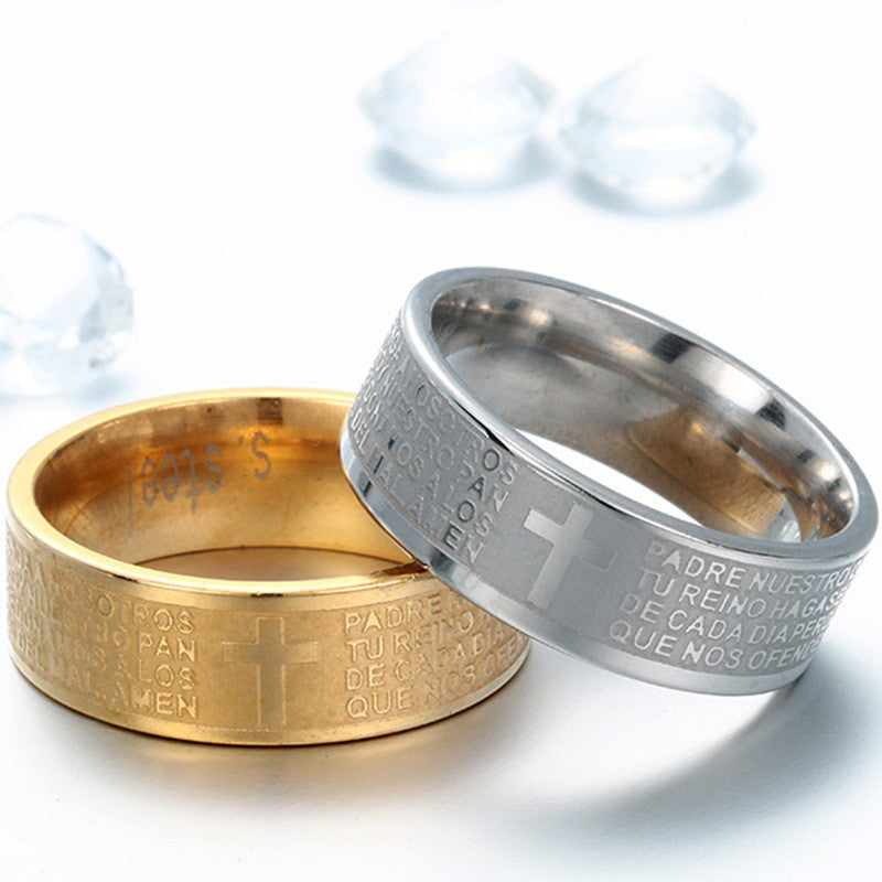 Gold Christian Bible Ring For Man&Women