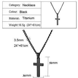 Black Plated Jesus Cross Necklaces Unisex