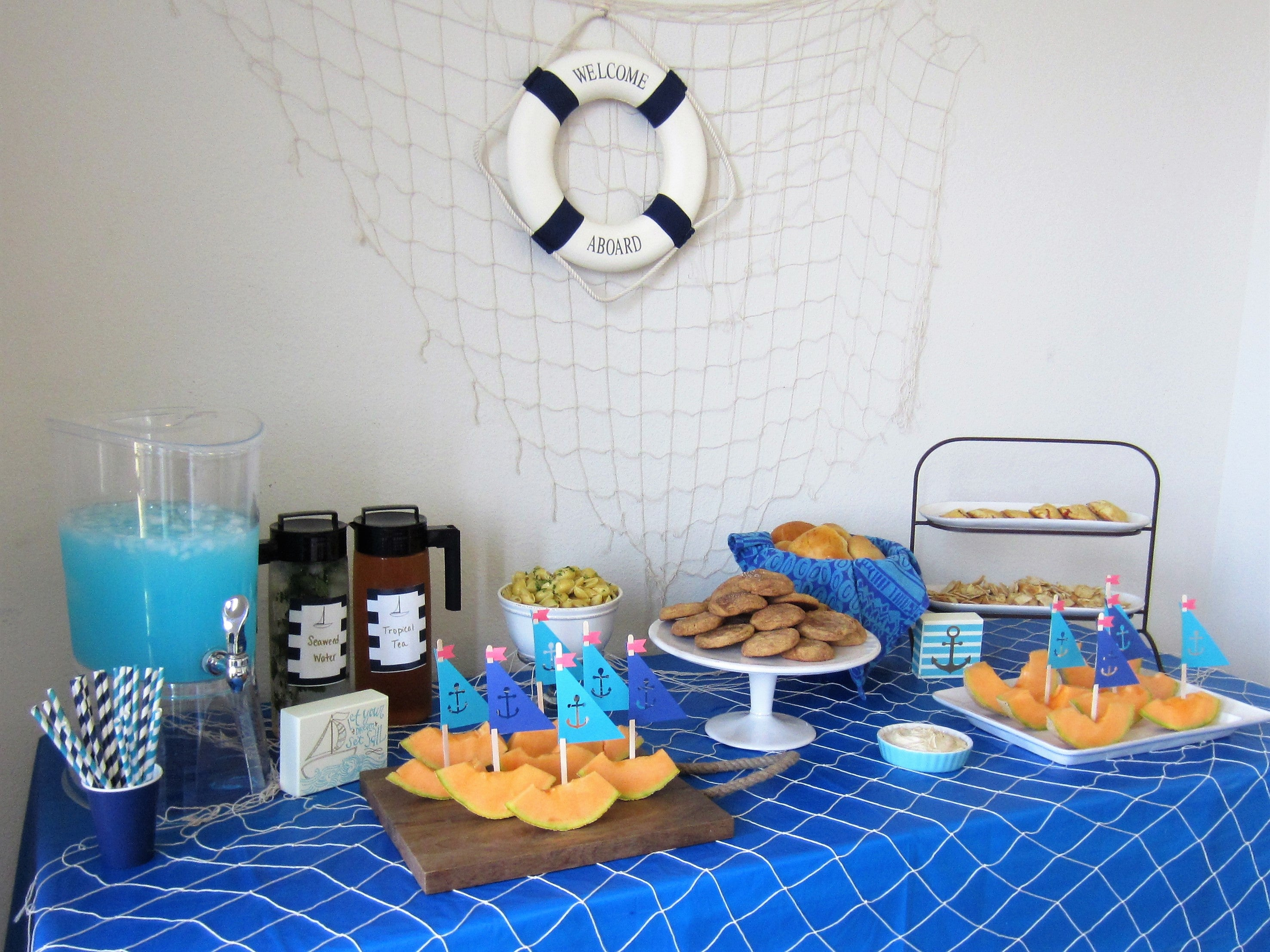 nautical party food, sailor party drinks, nautical sailor party decor