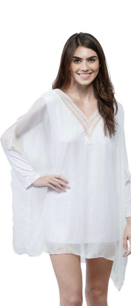 V Neck Solid Silky Cover Up