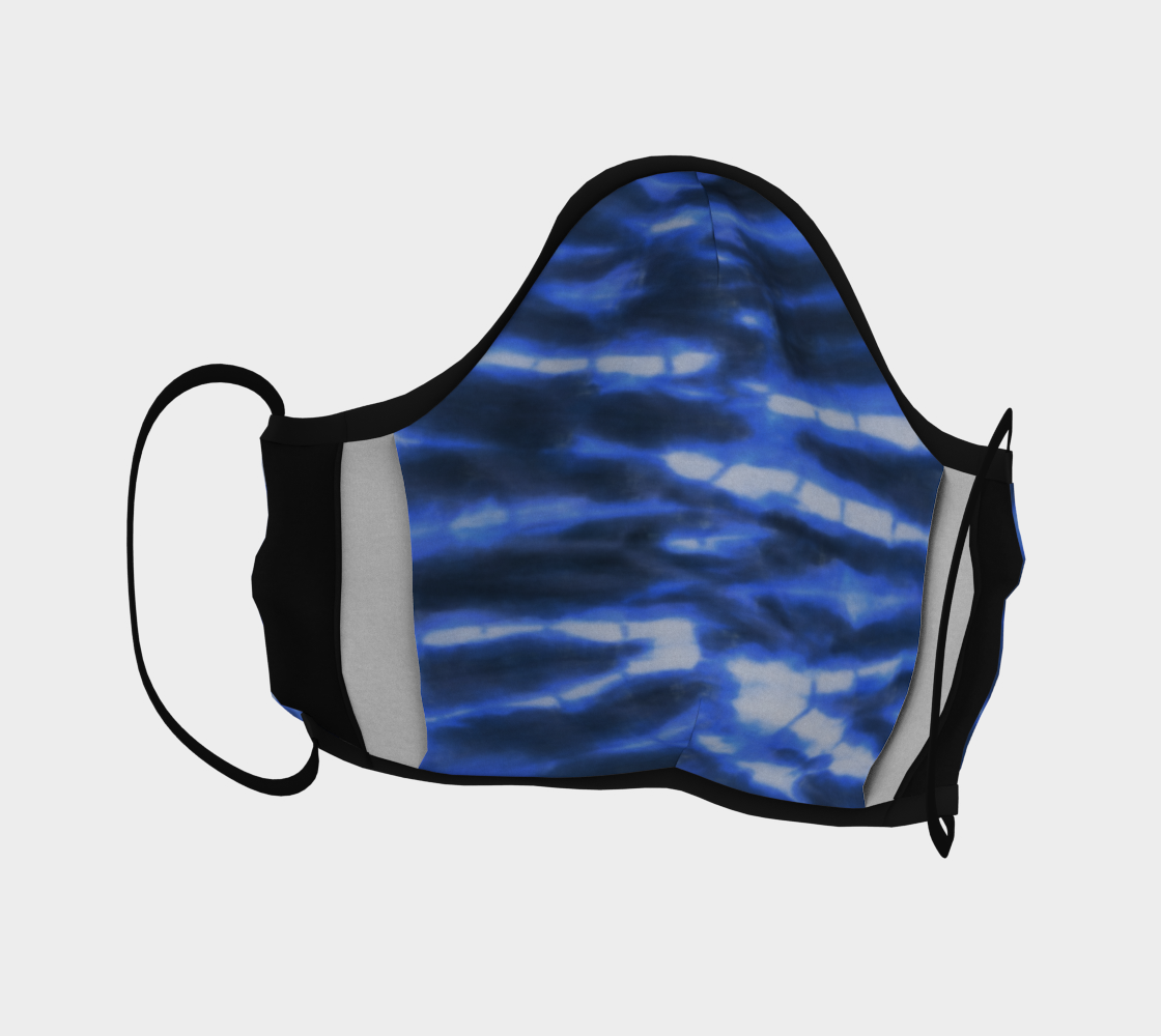 Shibori Stripe Face Mask with filter pocket and optional filters
