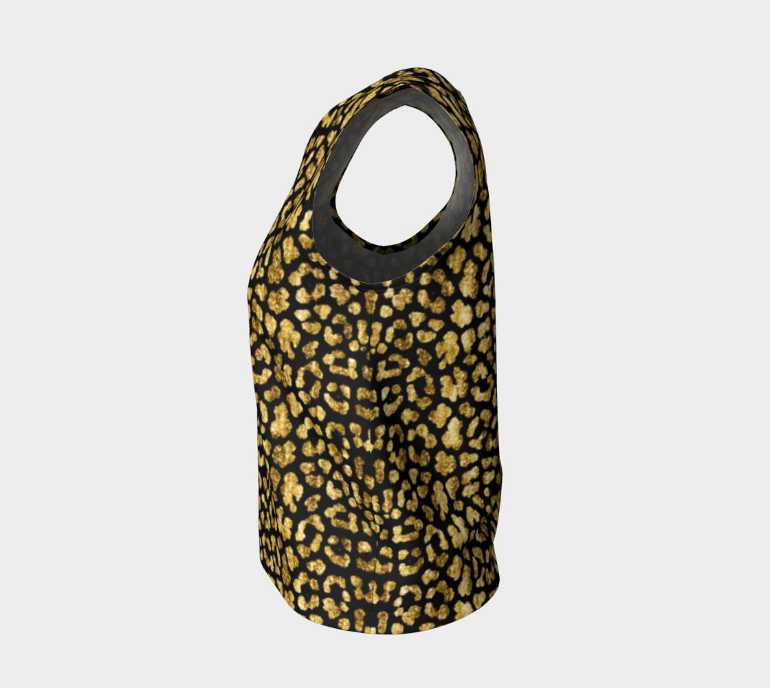 Gold Glitter Leopard Loose Tank Top