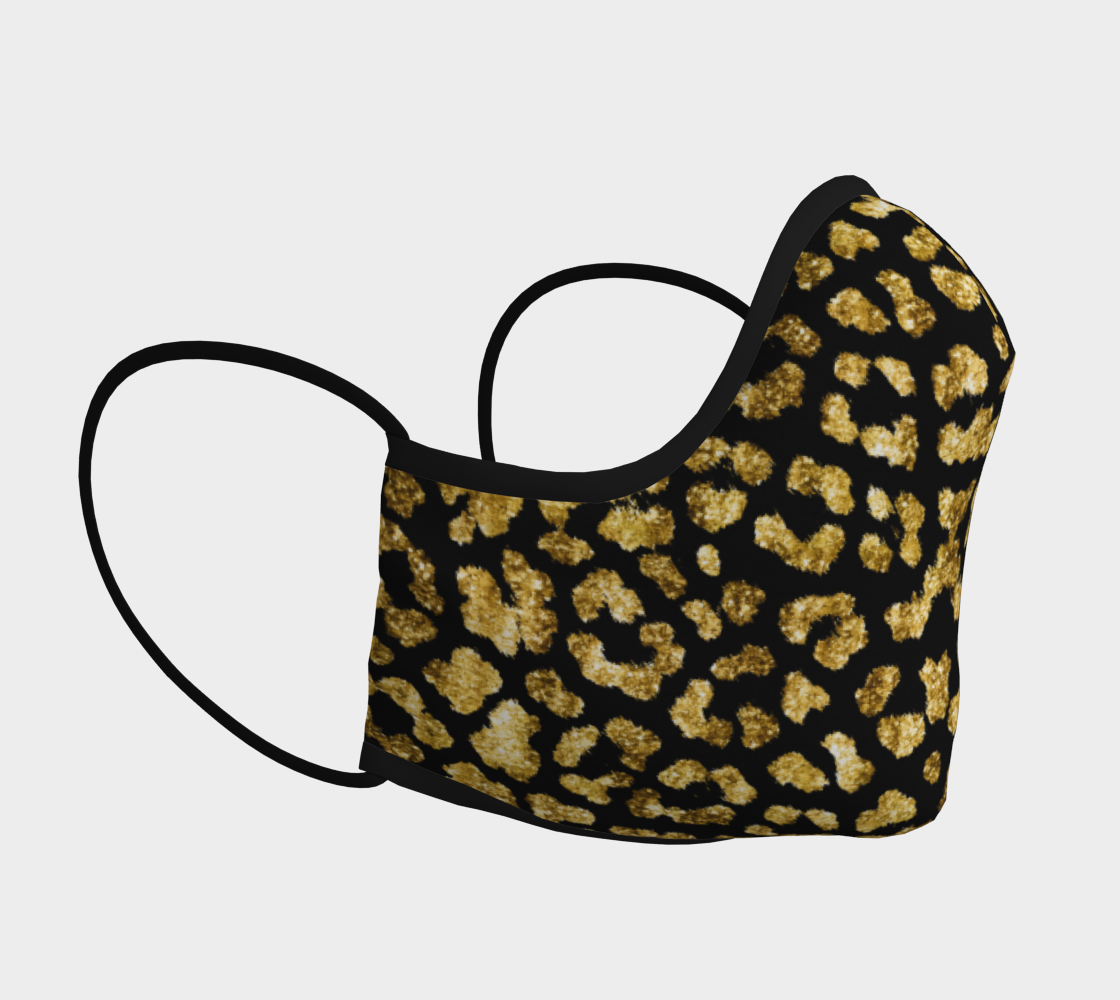 Gold Foil Leopard Face Mask with filter pocket and optional filters