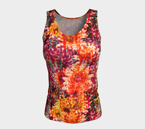 Ambient Floral Fitted Tank Top/Long Length