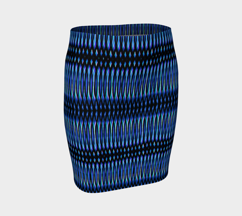 Blue Matrix Fitted Skirt