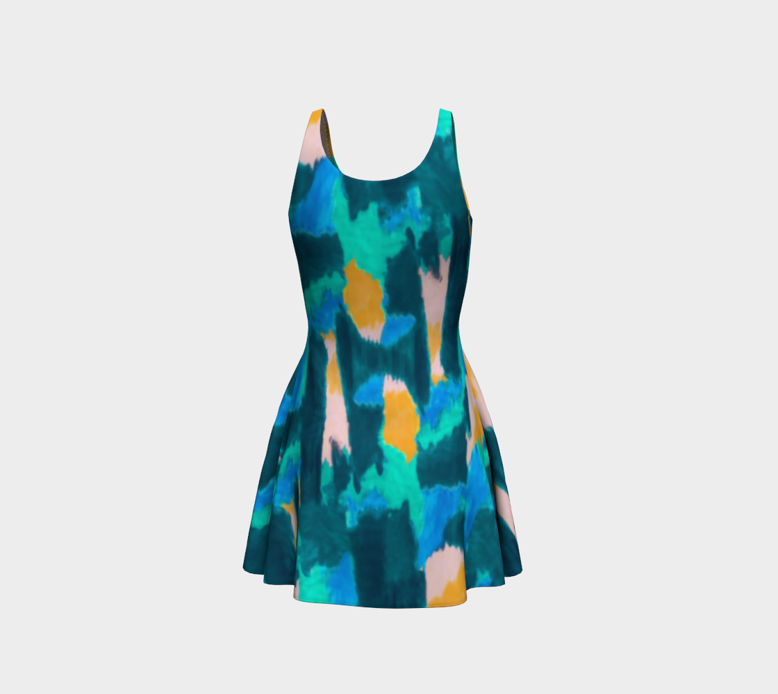 Watercolor Abstract Flare Dress Flare Dress  Roxie Rudolph Roxie Rudolph Roxie Rudolph