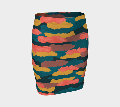 Camo Clouds Fitted Skirt