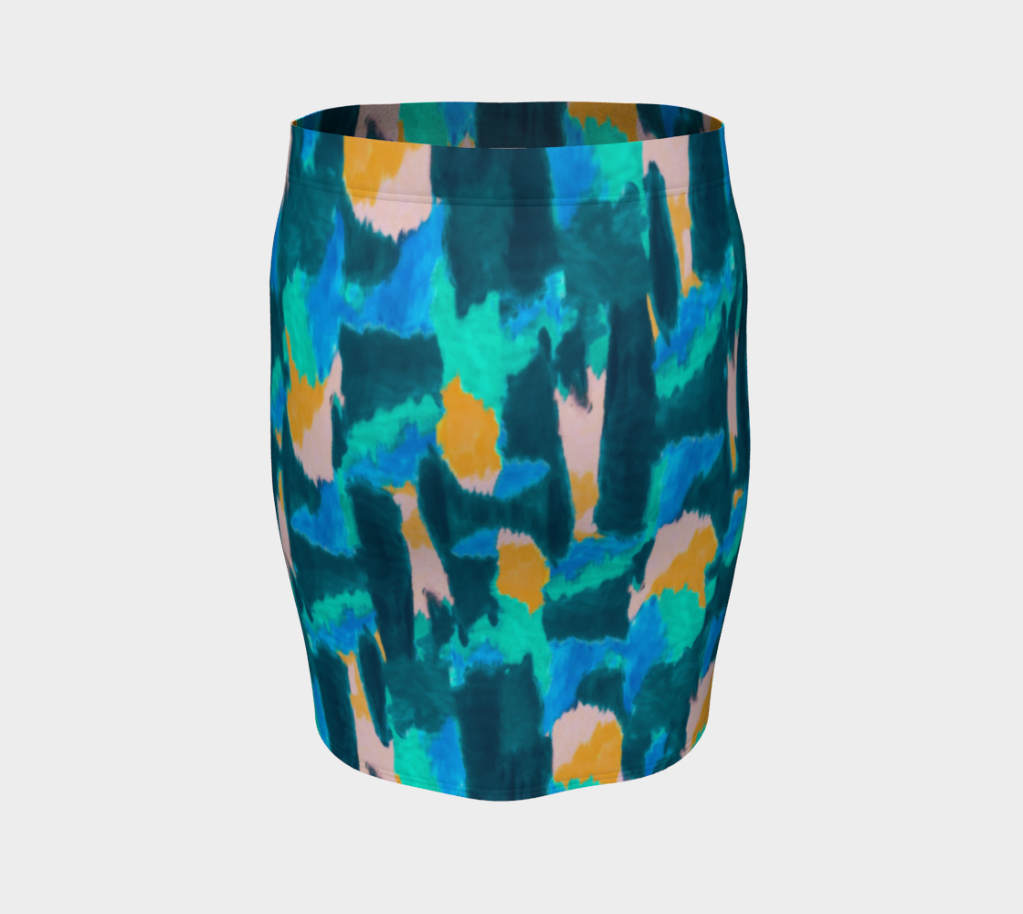 Watercolor Abstract Fitted Skirt Fitted Skirt  Roxie Rudolph Roxie Rudolph Roxie Rudolph