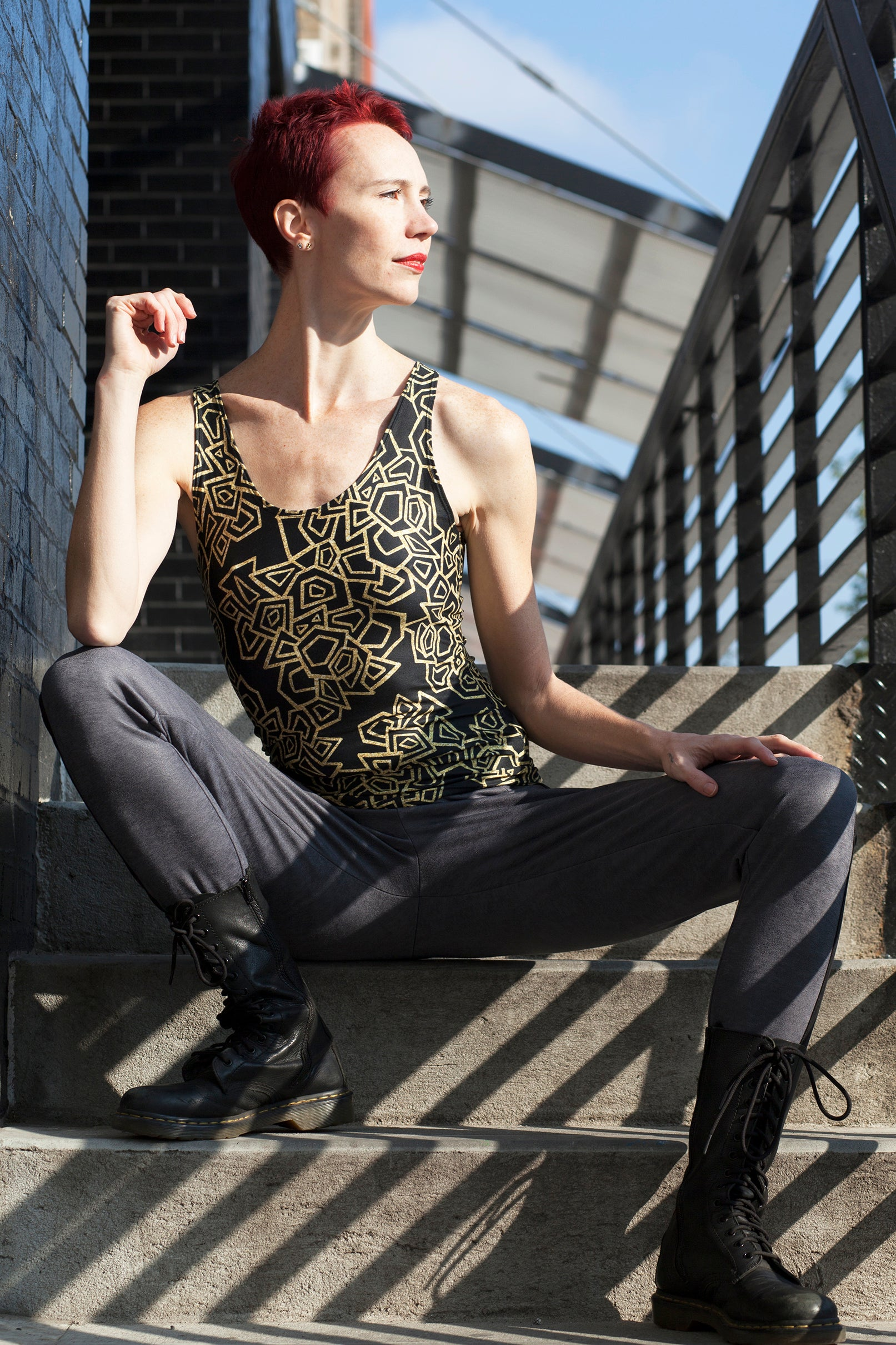 Gold Foil Geo Fitted Tank Top/Long Length Fitted Tank Top (Long)  Roxie Rudolph Roxie Rudolph Roxie Rudolph