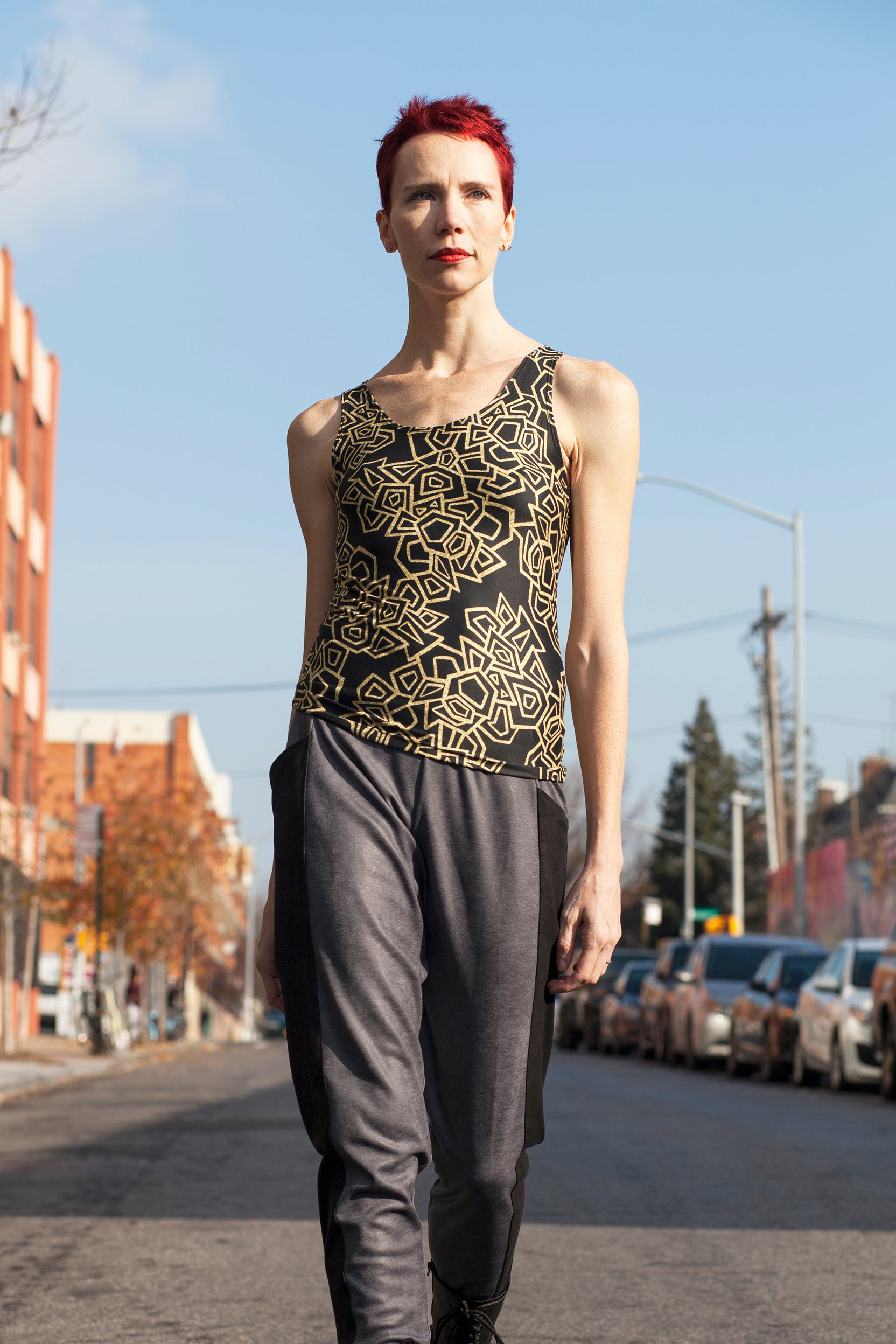 Gold Foil Geo Fitted Tank Top/Regular Length Fitted Tank Top (Regular)  Roxie Rudolph Roxie Rudolph Roxie Rudolph