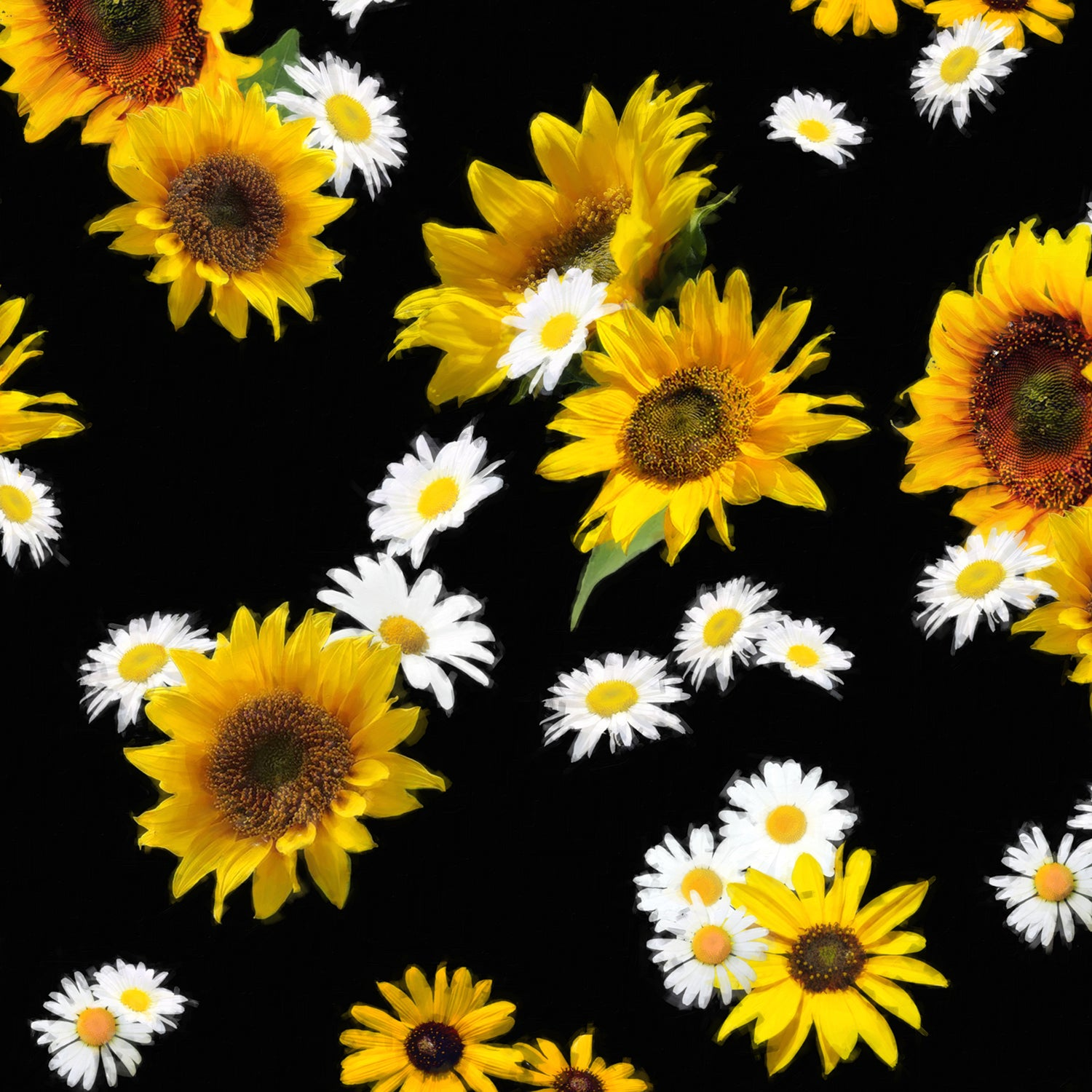 Sunflowers and Daisies Fitted Skirt