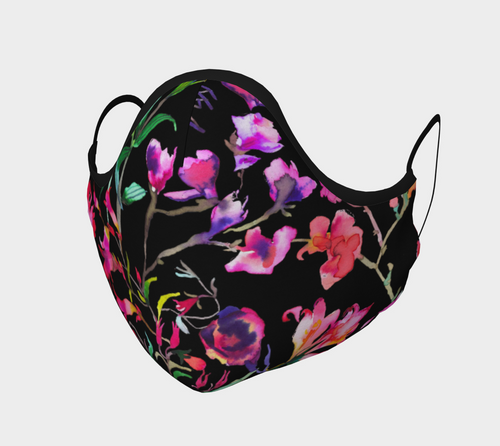 Watercolor Floral Face Mask with filter pocket and optional filters