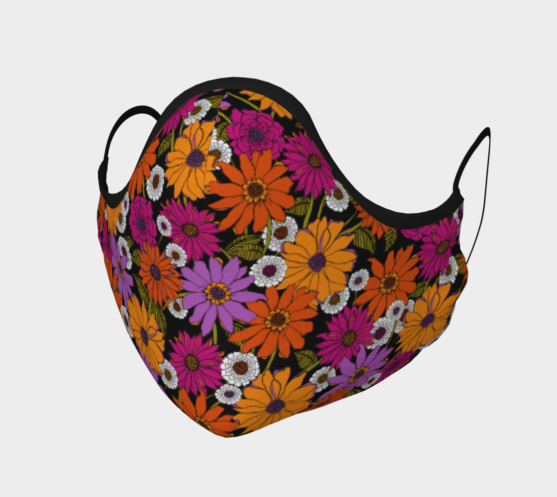 Retro Floral Face Mask with filter pocket and optional filters