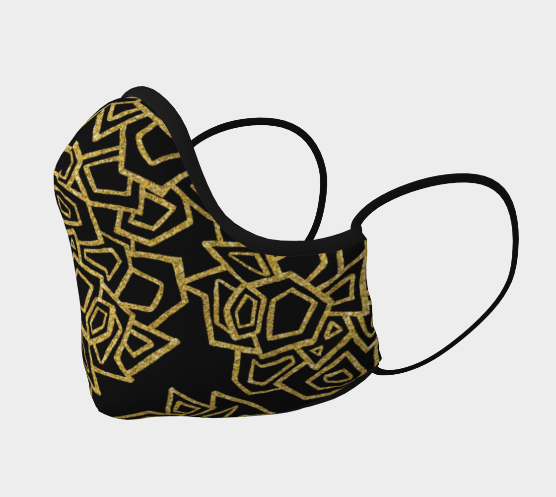 Gold Foil Geo Face Mask with filter pocket and optional filters