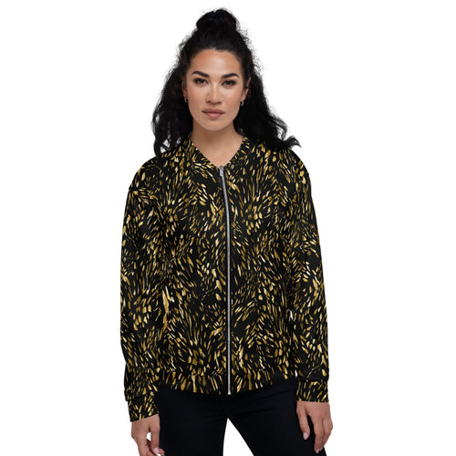 Gold Foil Brushstroke Bomber Jacket