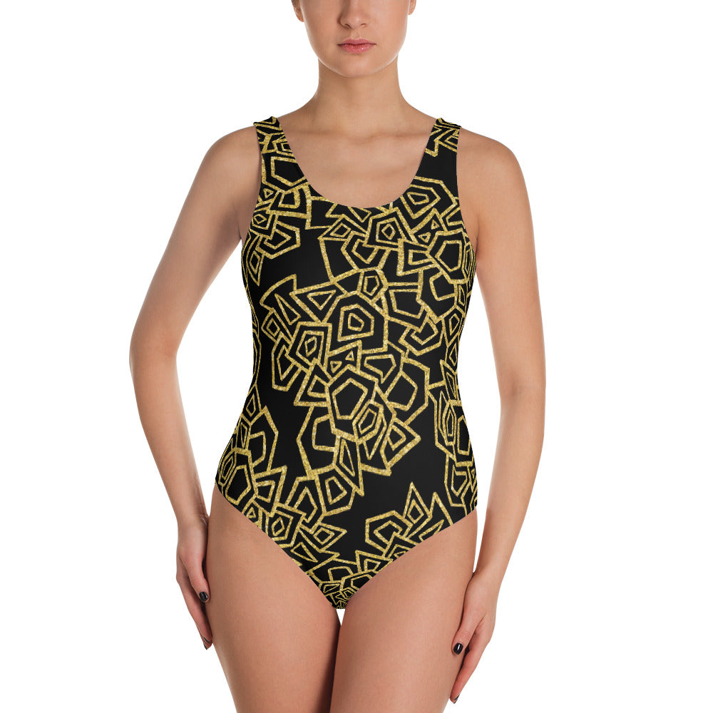 Gold Foil Geo One Piece Swimsuit   Roxie Rudolph Roxie Rudolph Roxie Rudolph