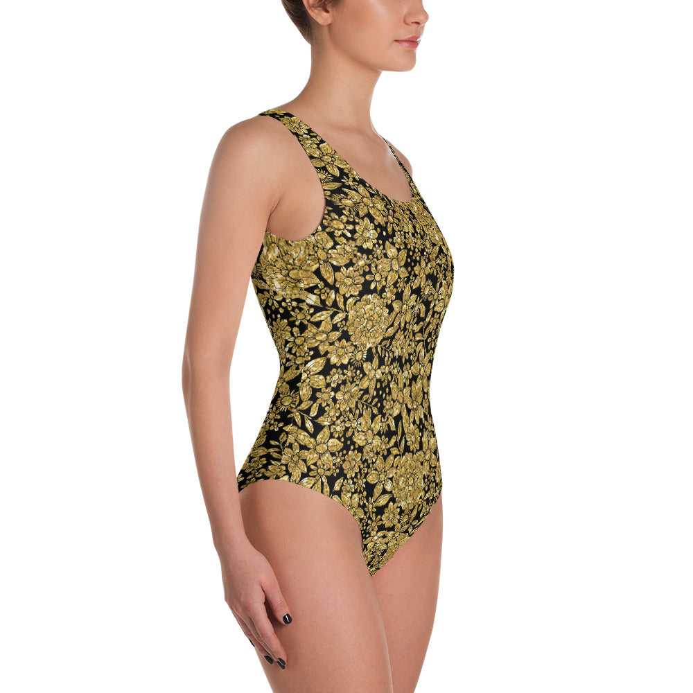 Gold Foil Flowers One Piece Swimsuit   Roxie Rudolph Roxie Rudolph Roxie Rudolph