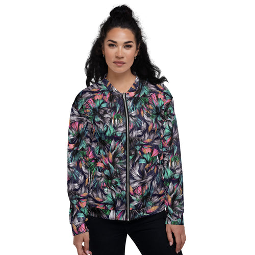 Feathery Tropical  Bomber Jacket