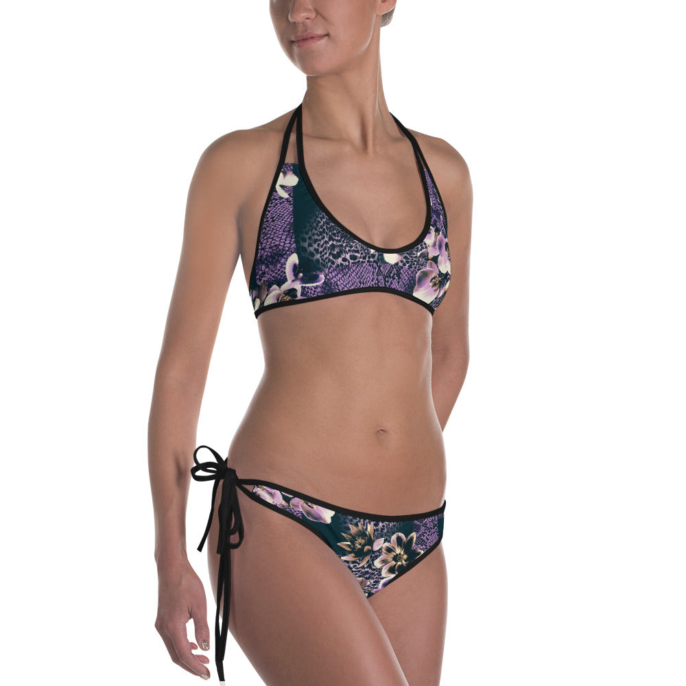 Feathery Tropical/Floral Animal Reversible Bikini   Roxie Rudolph Roxie Rudolph Roxie Rudolph