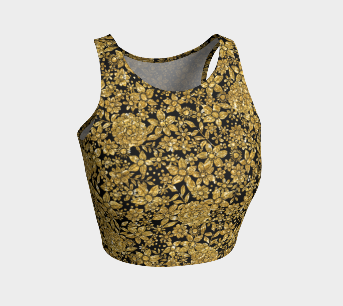 Gold Foil Flowers Athletic Crop Top Athletic Crop Top  Roxie Rudolph Roxie Rudolph Roxie Rudolph