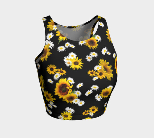 Sunflowers and Daisies Athletic Crop Top