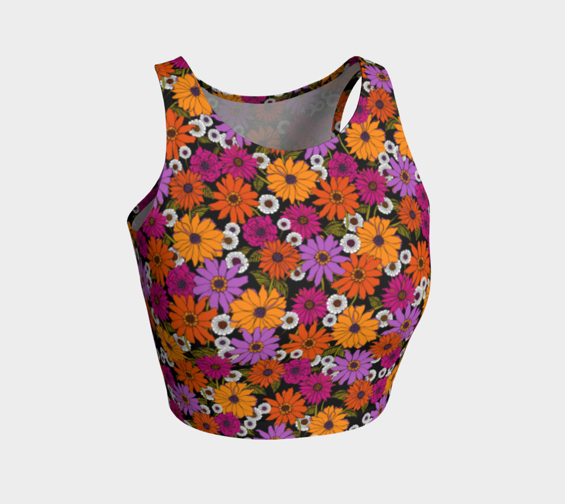 Retro Floral Athletic Crop Top