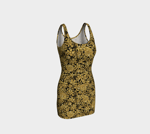 Gold Foil Flowers Bodycon Dress