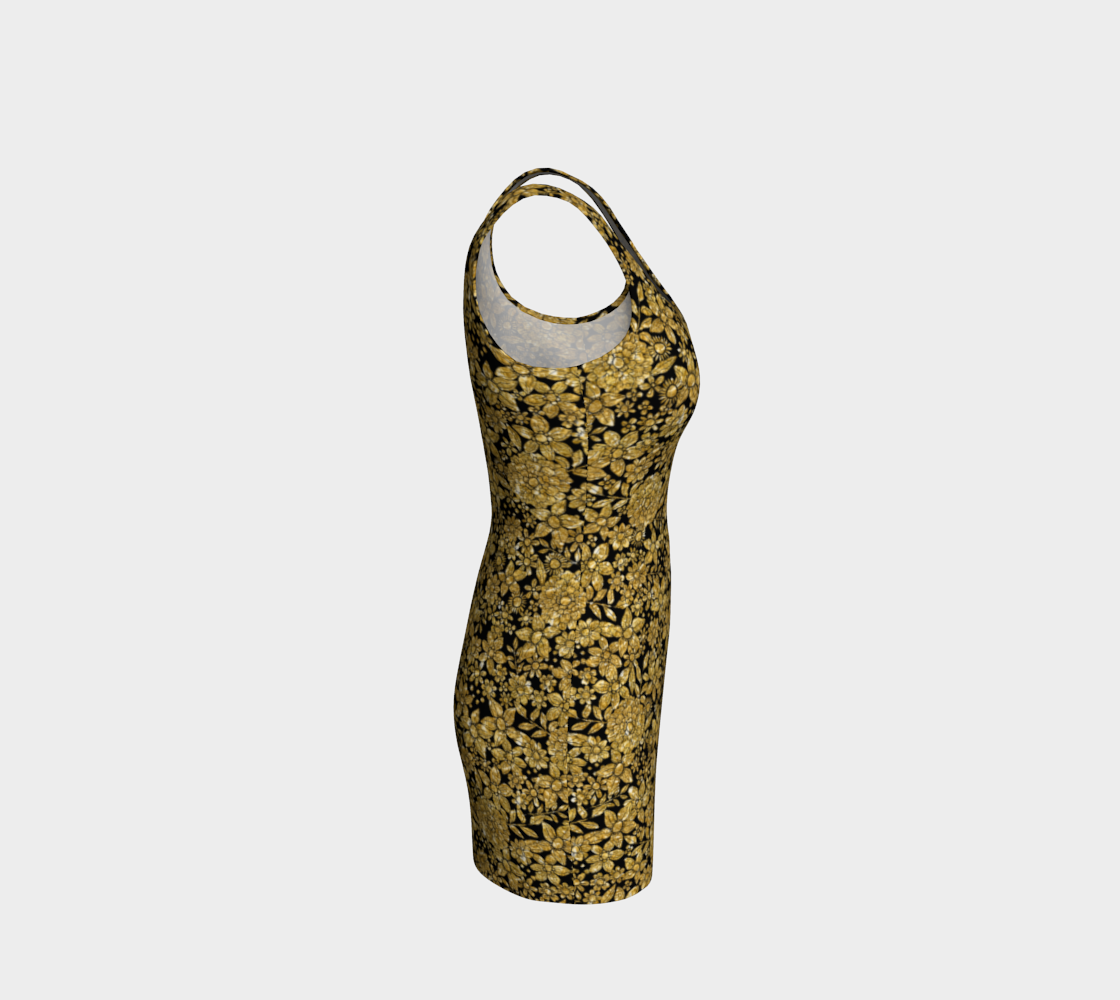 Gold Foil Flowers Bodycon Dress Bodycon Dress  Roxie Rudolph Roxie Rudolph Roxie Rudolph